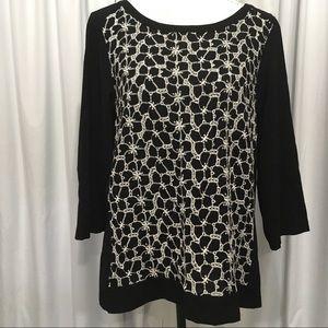 Ann Taylor 12 magnolia embroider blouse 3/4 sleeve